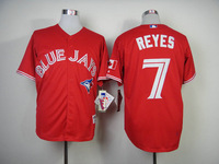 Baseball Jerseys-Blue Jays Authentic Jose Reyes #7 Red Canada Day Jersey size:48~56+Mix Order,Free Shipping