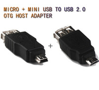 Free shipping Mirco-USB + Mini-USB OTG Host Connector Adapter For Asus Google Nexus Tablet PC Android  Mp3  MP4