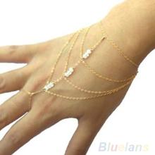 2014 Hot Fashion Celebrity Multi Chain Tassel Bangle Slave Finger Ring Hand Chain Harness Gold 000A 01GA(China (Mainland))