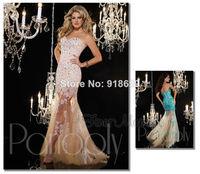 Vestido De Fiesta 2014 New Sweeetheart Appliques Tulle Floor Length Mermaid Beaded Lace Prom Dresses Long Evening Gowns