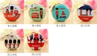 Free shipping Mini tinplate Women wallets Cartoon creative circular change purse Interesting zipper can carry small change purse
