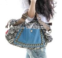 Hot Sales Fashion Women Canvas Rivet Handbag National Trend Print Shoulder Messenger Bags Casual Travel Bag