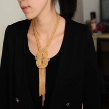 2014 Celebrity Style Chunky Gold Tassel Snake Chain Choker STATEMENT Bib Necklace Jewelry New Free Shipping