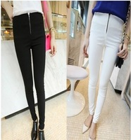 2014 Women's Plus Size Skinny Pencil Pants Female Fashion Zipper Casual Pants S-XXL Black/White Free Shipping