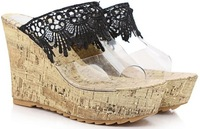 Free Shipping 2014 sweet lace high-heeled platform wedges sexy crystal slippers Sandals