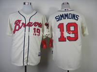 Baseball Jerseys Andrelton Simmons #19 Cream Cool Base Jersey size:48~56+Mix Order,Free Shipping