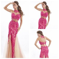 BK001 Top Selling A-Line High Neck Appliques Beaded Sexy See-through Nude Tulle Prom Dress 2014