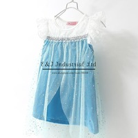 New 2014 Frozen Dress Blue Elsa Casual Beatch Costume Girl Dresses Summer Kids Wear Children Apparel  Free Shipping