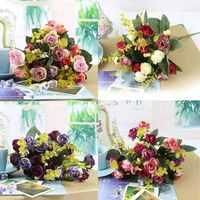 1PCS Wedding Party Home Decor Artificial Silk Peony Flowers Leaf 1 Bouquet/ 21Heads