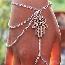 Hot 2014 Asymmetric Mens fashion Women Hamsa Fatima Finger Ring Slave Chain Hand Harness 0007 01G7(China (Mainland))