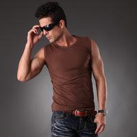 Free Shipping Solid Color O-Neck Summer Active Cotton Sports Vest For Men, Size M To 3XL