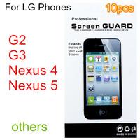10pcs Screen protector protective film guard For LG G2 G3 Nexus 4 Nexus 5 mobile phone