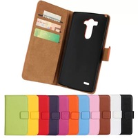 11Color,Genuine Leather Wallet Stand Case For LG G3 D855 Mobile Phone Bag Cover with Card Holder Black