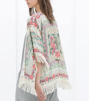 2014 New Fashion Ladies' ethnic style flower print Tassel Mantle sunscreen clothing elegant stylish cardigan Blouse 2192