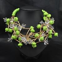 Wholesale Fashion New 2014 Jewelry Vintage Women Party Luxury Choker Green African Beads Rainbow Statement Choker Necklace