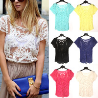 New Fashion Summer Womens Lace Embroidery Floral Crochet Crew Neck Short Sleeve Sexy Hollow Out Retro Plus Size Blouse J8169