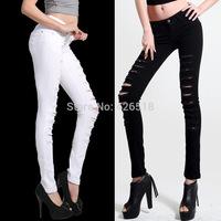 Hot Fashion Ladies/Female Cotton Denim Ripped Hole Punk Cut-out Women Sexy Skinny pants Jeans Leggings Trousers Black / White