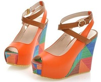 Free Shipping 2014 Hot Sale wedges ultra high heels open toe platform princess Sandals