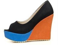 Free Shipping 2014 Hot Sale Color block decoration wedges platform casual sweet open toe sandals