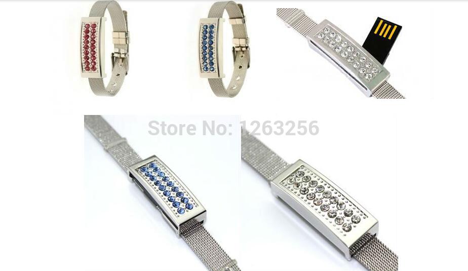 Free Shipping Crystal Bracelet 8GB 16GB 32GB 64GB Jewelry Metal USB Flash Drive pen drive U Disk Wristbands model pendrives(China (Mainland))