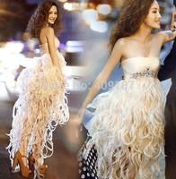 Luxury diamond low-high design Feathers sexy Jewelry dress