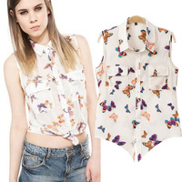 2014 Summer Hot Selling Women Short Style Sleeveless Chiffon Tops/Women's Casual Chiffon Blouse
