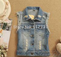 high street denim vests waistcoat autumn -summer denim vest new 2014 blue jean jackets women clothing sleeveless coat for woman