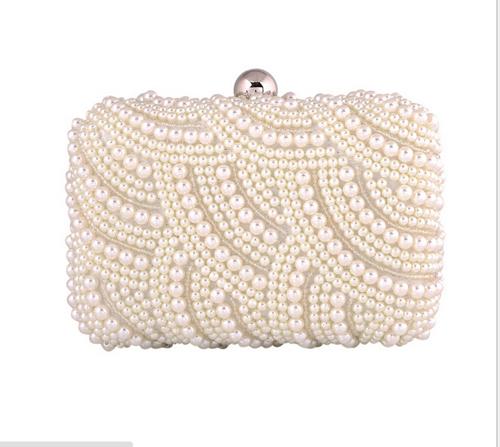 Spedizione gratuita! 2014 nuovo! Squisita moda perla da sposa delle donne frizione sacchetto di sera con catena, 129