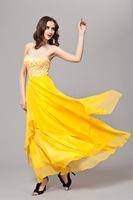 2014 Latest Mesh embroidery chiffon evening dress Tube Top Strapless tuxedo yellow