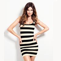 Women Dress  Black And White Striped Dress  XS S M L XL XXL Summer Dress Free Shipping HDY1-3