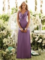 Wholesale V Neck Silk Satin And Chiffon Custom Made Long Bridesmaid Dress Classic Bridesmaid Gown