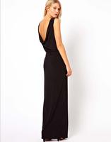PerfectShow Minimalist Deep V Back Left Slit Chiffon Black Sexy Vest Maxi Dress