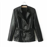 2014 New Women Fashion SARALI Long Leather Jackets with Belt Ladies Coat 1012106502