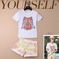Free shipping  The new short-sleeved T-shirt owl floral shorts leisure suits  isabel marant