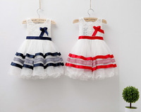 High quality  New summer 2014 lace striped bow ball gown children clothes kid baby girl princess dress