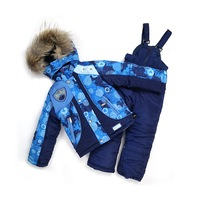 New 2014 children set BABY boy's ski jackets+pants kid outdoor active Windproof set Fashion winter clothing Set 4size blue
