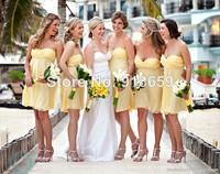Short Mini A Line New Arrival Yellow Chiffon Bridesmaid Dress Custom Made