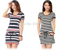 2014 New Fashion Women Striped Slim Elastic Casual Dress Crew Neck Comfy Short Sleeve Dress With Pockets M-XL