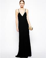 PerfectShow Minimalist Deep V Neck Black Sexy Backless Long Spaghetti Maxi Dress