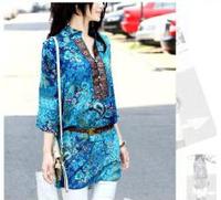 Womens Vintage Colourful Floral Print Casual Slim Shirt Blouse Top WZ007