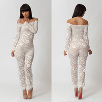 Women brand design sexy lace perspective nightclub party strapless long sleeve jumpsuits white gause hallow out bandage pants