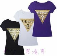 New 2014 cotton fashion print short sleeve casual all match t shirt women 3colors S,M,L,XL Wholesale price