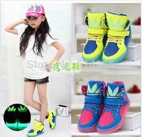 2014 Spring New Fashion Basketball Running Children Boots Super Luminous Boys / Girls Children Shoes Kids Sneakers
