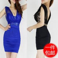 2014 summer fashion perspectivity racerback sexy Lap low-cut V-neck slim hip slim one-piece dress nightclubs dresses
