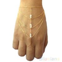 Fashion Celebrity Multi Chain Tassel Bangle Slave Finger Ring Hand Chain Harness Gold 043F