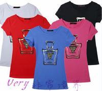 2014 cotton fashion print short sleeve casual all match t shirt women 5colors S,M,L,XL Wholesale price
