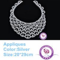 Rhinestone appliques trim 20*29cm crystal China A grade crystals gold base for garment wedding dress