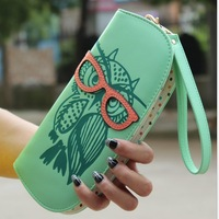 New Fashion Cute Owl Glasses Hit Color Printing Korean Rounded Zipper Long Women Wallets Ladies' Clutch Change Purse Card Holder