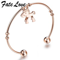 Classic Fashion 18K Rose Gold Plated smaller horse  Round  Cuff Bracelets & Bangle Free Shipping 700