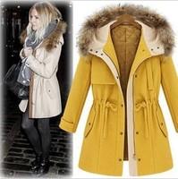2014 Winter New Fashion Women's Fur Collar Slim Woolen Thick Coat  Four Size